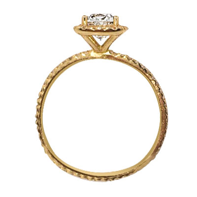 1.11 Total Carat Halo Cushion Cut Engagement Ring