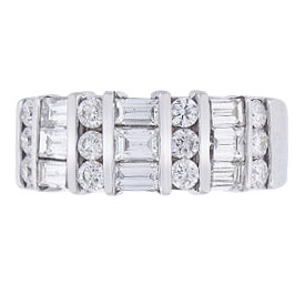 14K White Gold 1.34 Carat Diamond Round and Baguette Band