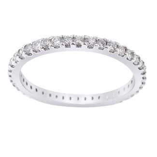 14K White Gold Eternity Diamond Band 1.5MM Sizes 3.5-10 Available