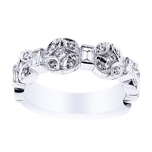 18K White Gold Round and Baguette Diamond Band 100 Carat Total