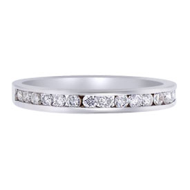 14K White Gold Half Eternity Channel Set Diamond Band