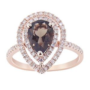 14K Rose Gold Smokey Topaz and Diamond Double Halo Ring