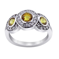 14K White Gold Natural Yellow Sapphire and Diamond Halo Ring