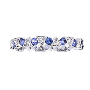 14K White Gold Natural Sapphire and Diamond Band
