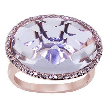 14K Rose Gold Natural White Topaz and Diamond Ring