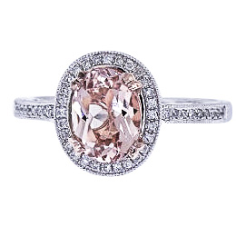14K White and Rose Gold Natural Morganite and Diamond Ring