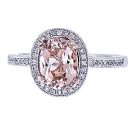 14K White and Rose Gold Natural Morganite and Diamond Ring