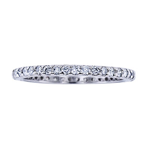 SJ1179PSDB - 14K White Gold Diamond Eternity Prong Set Band