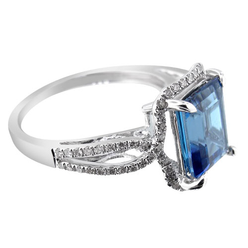 14K White Gold Diamond and Natural Blue Topaz Ring