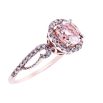 14K Rose Gold Natural Morganite and Diamonds Halo Engagement Ring
