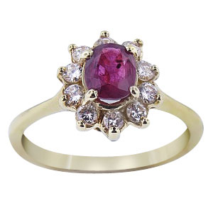 Natural Ruby and Diamond Ring Set in 14K Yellow Gold