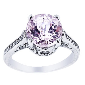 14K White Gold Natural Kunzite and Diamond Antique Design Ring