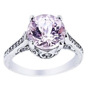 14K White Gold Natural Kunzite and Diamond Antique Design Ring
