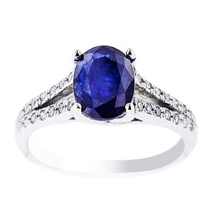 Natural Blue Sapphire and Diamond Set in 14K White Gold Ring159 Carats