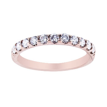 14K Rose Gold Diamond Prong Set Band