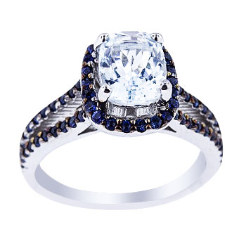 14K White Gold Aquamarine and Blue Sapphire Prong Set Halo Ring