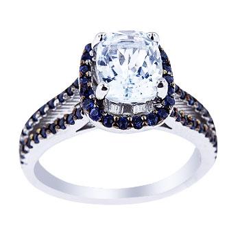 14K White Gold Aquamarine and Blue Sapphire Prong Set Halo Ring