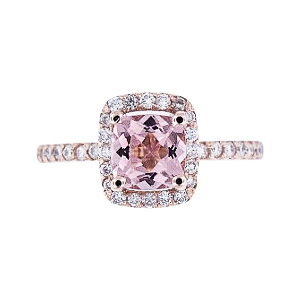 SJ1400RGMOR - 14K Rose Gold Morganite and Diamond Halo Ring