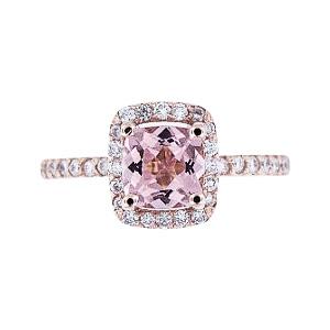 SJ1400RGMOR - 14K Rose Gold Morganite and Diamond Halo Ring