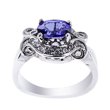 Natural Blue Sapphire and Diamond Set in 14K White Gold Ring 1.25 Carats