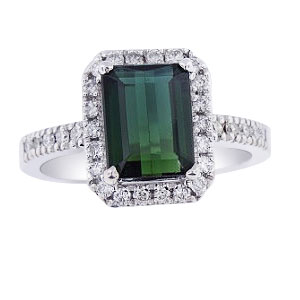 14K White Gold Green Thermal and Diamond Halo Design Ring