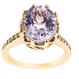 14K Yellow Gold Diamond and Kunzite Antique Design Ring