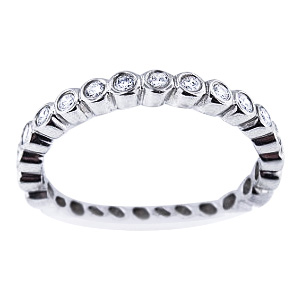 SJ1580BZWG - 14K White Gold Bezel Set 3/4 Eternity Band