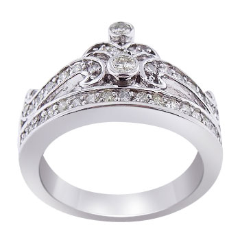 14K White Gold Diamond Crown Ring