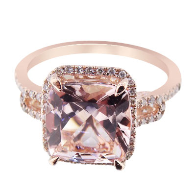 14K Rose Gold Natural Morganite and Diamond Halo Engagement Ring