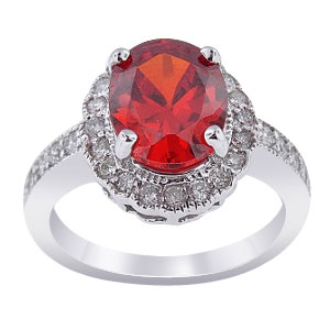 14K White Gold Diamond and Padparadscha Ring