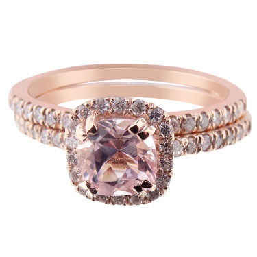 14K Rose Gold Natural Morganite and Diamond Halo Engagement Set
