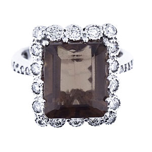 14K White Gold Diamond Smokey Topaz Antique Design Ring