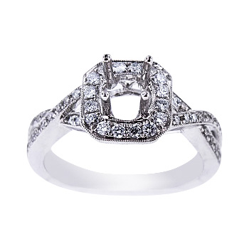 SJ1720CHSA - 14K White Gold Diamond Halo Infinity Design Engagement Ring