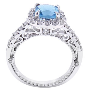 14K White Gold Natural Blue Topaz and Diamond Halo Ring
