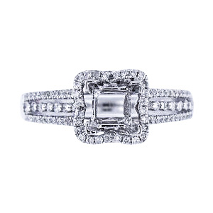 14K White Gold Diamond Halo Design Engagement Ring