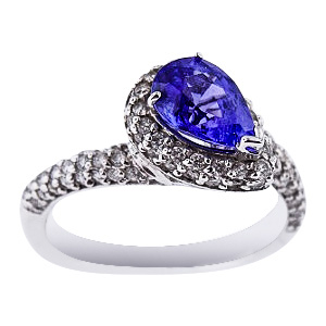 SJ1800TANZR - 14K White Gold Diamond and Natural Tanzanite Halo Ring