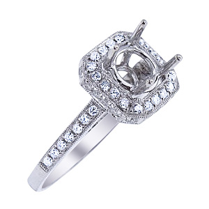 SJ1840CHSA - 14K White Gold Diamond Halo Design Engagement Ring