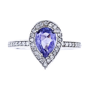 SJ1844TANR - 14K White Gold Diamond and Natural Tanzanite Halo Ring