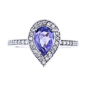 SJ1844TANR - 14K White Gold Diamond and Natural Tanzanite Halo Ring