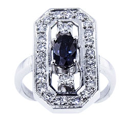 14K White Gold Natura Sapphire and Diamond Ring