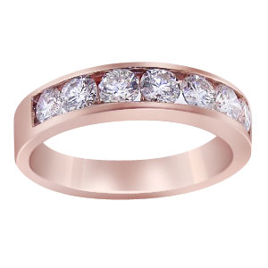 14K Rose Gold Diamond Channel Set Band