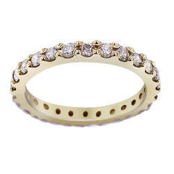 14K Yellow Gold Full Eternity Prong Set Diamond Band