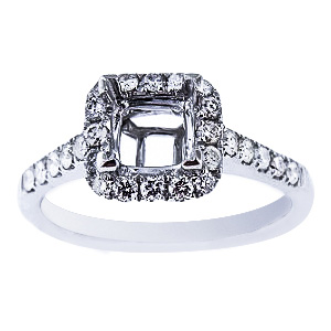 SJ1969PHSA - 14K White Gold Diamond Halo Design Engagement Ring