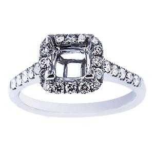 SJ1969PHSA - 14K White Gold Diamond Halo Design Engagement Ring