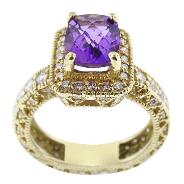 14K Yellow Gold Diamond and Amethyst Antique Halo Design Ring 3.38 Carats