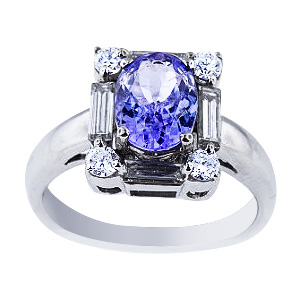 14K White Gold Natural Tazanite and Diamond Ring