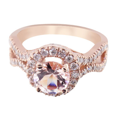 Color Engagement Ring - 14K Rose Gold Natural Morganite and Diamond Halo Engagement Ring