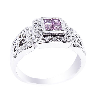 14K White Gold Diamond and Pink Sapphire Ring