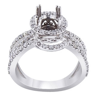 14K White Gold Diamond Halo Wedding Set