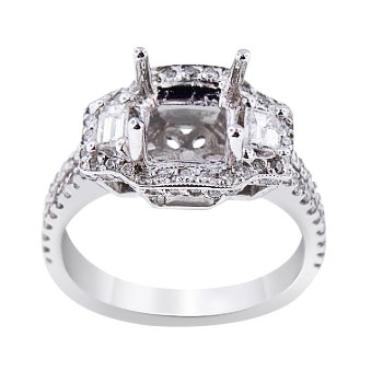 14K White Gold Diamond Halo Three Stone Engagement Ring